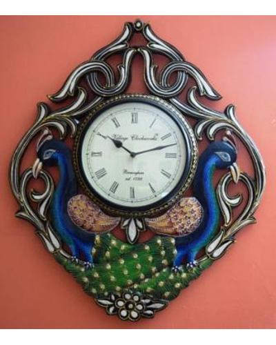 Tanhar Krafts Beautiful Peacock Pair Wooden Hand Painted Ethnic Wall Clock-TK04018