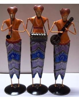 Tanhar Krafts Iron Table Decor Sardar Musician Showpiece Set of 3