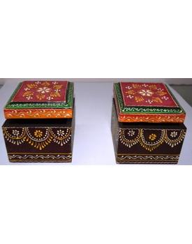 Tanhar Krafts Wooden Hand Painted Multipurpose Box- Set of 2