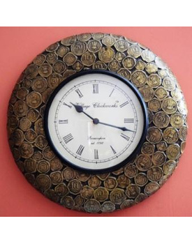 Tanhar Krafts Wooden Hand Painted Antique Coins Studded Wall Clock