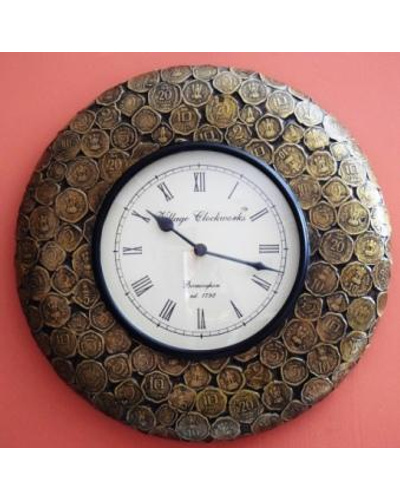 Tanhar Krafts Wooden Hand Painted Antique Coins Studded Wall Clock-1