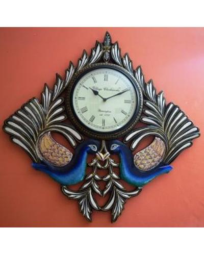 Tanhar Krafts Beautiful Peacock Pair Wooden Hand Painted Ethnic Wall Clock-TK04020