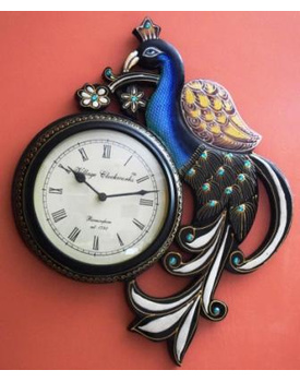 Tanhar Krafts Beautiful Peacock Wooden Hand Painted Ethnic Wall Clock