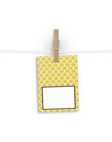 Yellow and White scallop patterned Gift Tags