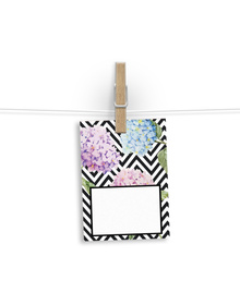 Hydrangeas on a bed of Black and White Chevron gift Tags