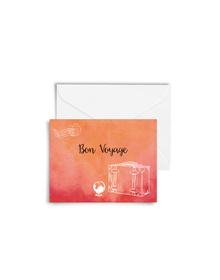 Water Color Washed Bon Voyage Cards with Envelopes (Set of 6)