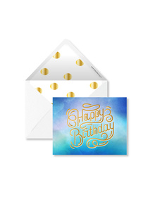 Water Colour Washed - Happy Birthday Cards with Envelopes (Set of 6)