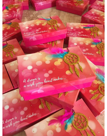 Dream Catcher Baby Birth announcements boxes- Girl /Pink - MADE TO ORDER