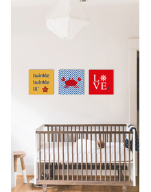 Nautical Canvas set- starfish, crab and Steering Of Love