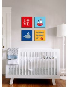 Nautical Canvas set- Love, boat, whale and starfish