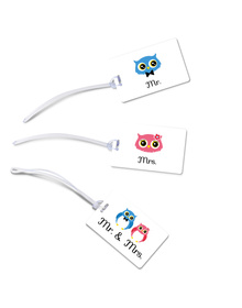 Mr & Mrs Owl luggage tags set