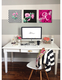 Flower Power Canavs Set with Monogram