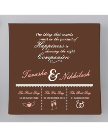 Brown- Names & quote Couple memory canvas