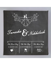 Chalkboard- Names & flourish Couple memory canvas