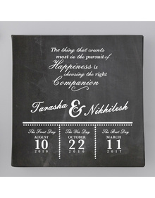 Chalkboard- Names & quote Couple memory canvas