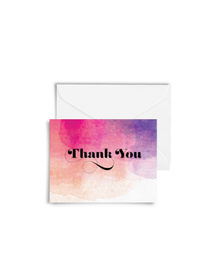 Water Colour Washed Thank You Cards with Envelopes (Set of 6)