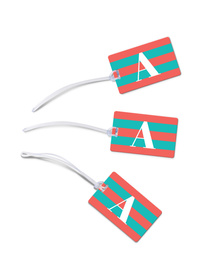 Carrot Pink and turquoise striped monogram luggage tags