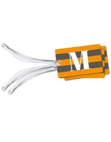 Grey and Orange striped monogram luggage tags