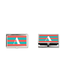 Carrot Pink and turquoise striped monogram business card holder