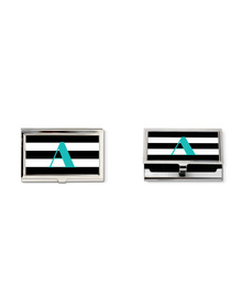 Black &white  striped and turquoise monogram business card holder