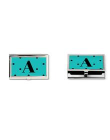 Teal and black polka dots Monogram business card holder
