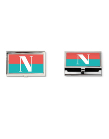 Carrot Pink and turquoisehalf and half monogram business card holder