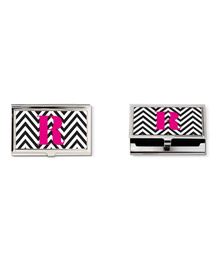 Black and white chevron and pink monogram business card holder