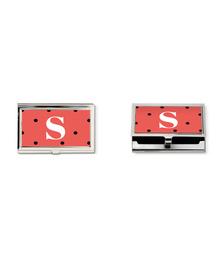 Orange and black polka dots Monogram business card holder