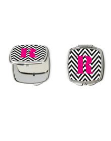 Black and white chevron and pink monogram vanity mirror- R