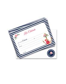 Nautical Floral-Let's Celebrate -  20 Invitations
