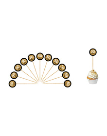 Gold & Black -50 & fabulous -Cupcake Toppers
