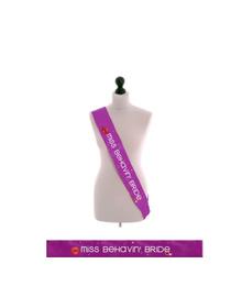 Miss Behavin' Bride- Bride to be - Purple Sash