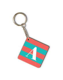 Carrot Pink and turquoise striped monogram keychain