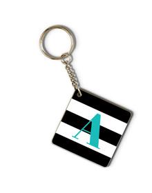 Black &white  striped and turquoise monogram keychain