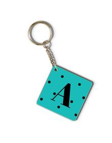 Teal and black polka dots Monogram keychain
