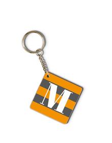 Grey and Orange striped monogram keychain