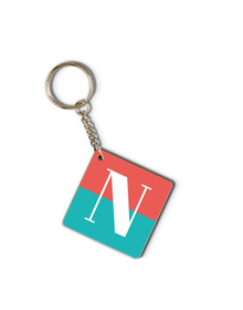 Carrot Pink and turquoisehalf and half monogram keychain