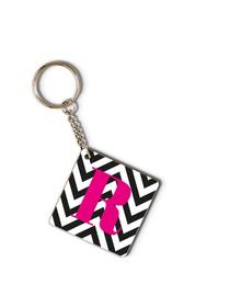 Black and white chevron and pink monogram keychain