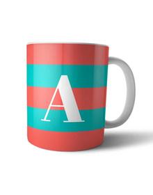Carrot Pink and turquoise striped monogram mug