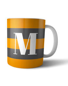 Grey and Orange striped monogram mug