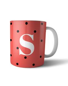Orange and black polka dots Monogram mug