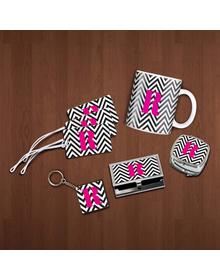 Black and white chevron and pink monogram essentials