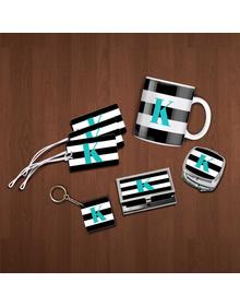 Black &white  striped and turquoise monogram essentials