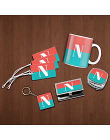 Carrot Pink and turquoise half and half monogram essentials