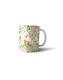 Vintage botanical & bird mug