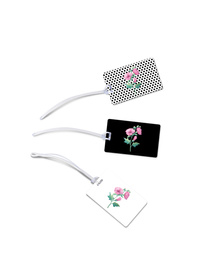 Flowers and dots luggage tags