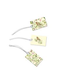 Vintage botanical & bird luggage tags