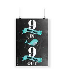 9 Months Turqouise Whale Chalkboard Milestone Poster