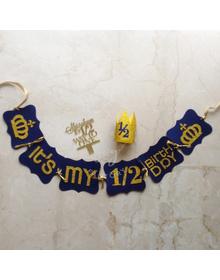 Blue - It's My 1/2 Birthday Personalised Crown Mini Birthday Kit