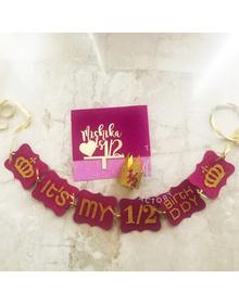 Pink - It's My 1/2 Birthday Personalised Crown Mini Birthday Kit